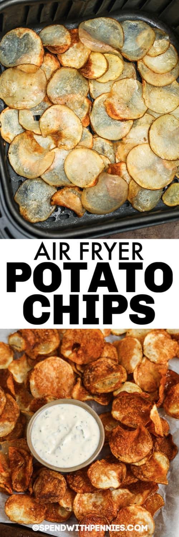 Levegősütő burgonya chips a légsütőben és címkével borítva