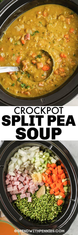 hozzávalókat a fazékba, hogy elkészítsék a Crockpot Split borsólevest és a kész étel címmel