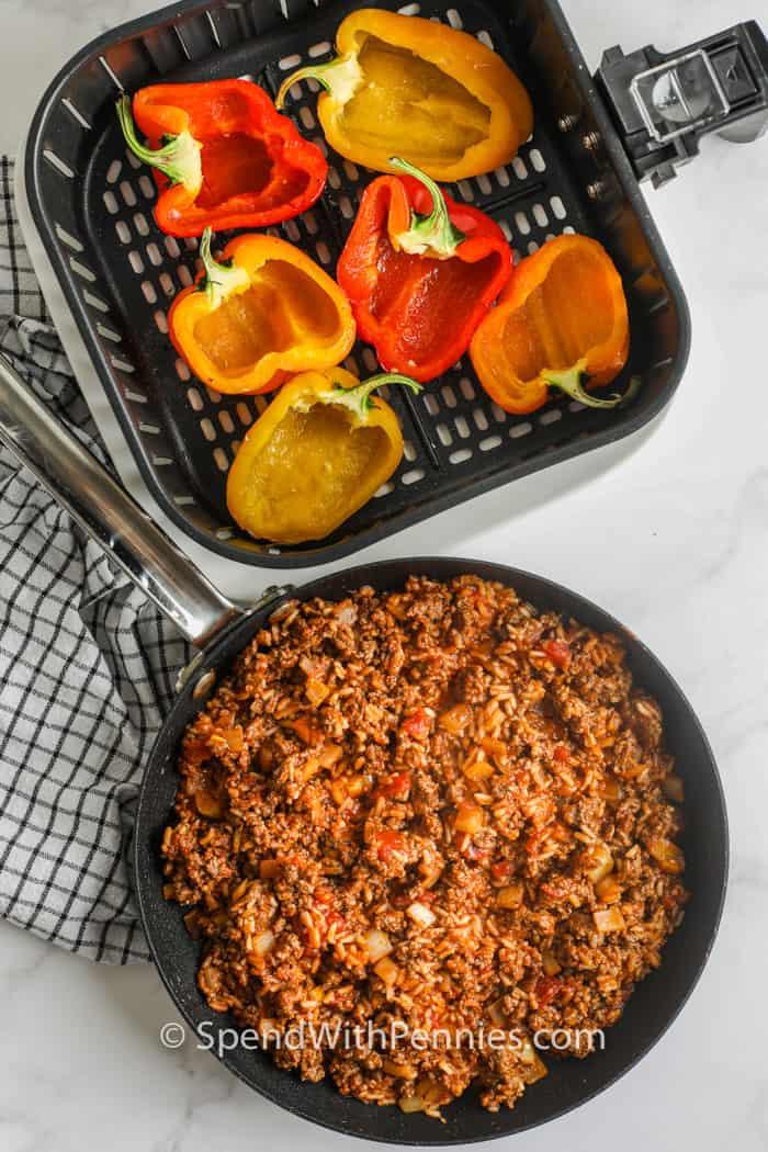 paprika és hús töltelék, hogy légzsíros töltött paprikát készítsünk