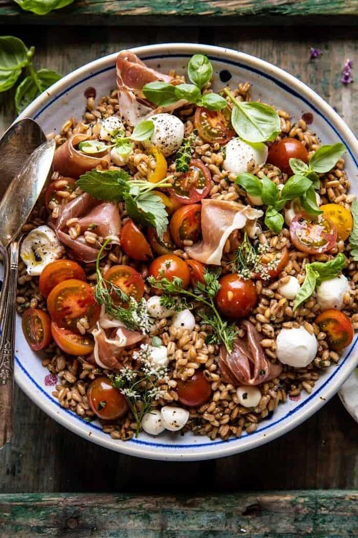Caprese Prosciutto Farro Salad   halfbakedharvest.com