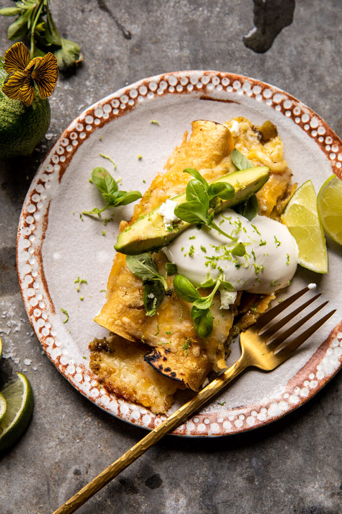 Sheet Pan Cheesy Poblano Corn Enchiladas  halfbakedharvest.com