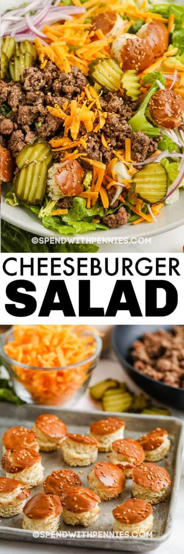 Hozzávalók a Big Mac saláta elkészítéséhez lemezes edénnyel és címmel
