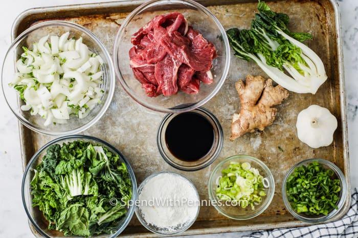Hozzávalók a Marhahús és Bok Choy keveréshez