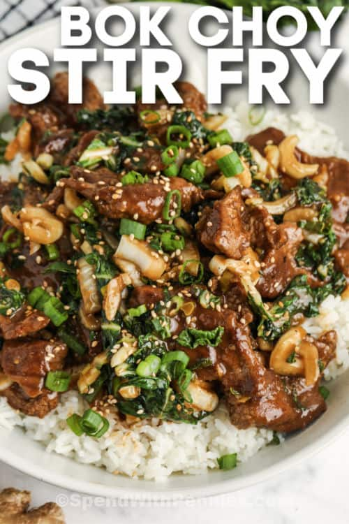 bevonatos marhahús és Bok Choy keverjük megsütjük írással