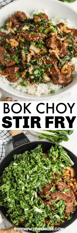Marhahús és Bok Choy keverés Sütjük a serpenyőben és címkével bevonva