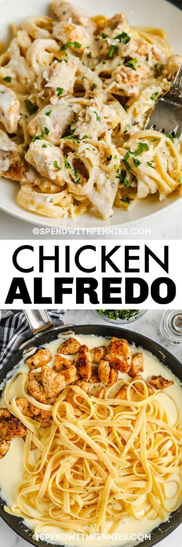 Hozzávalók hozzáadása serpenyőbe, hogy az Alfredo csirke kész ételhez és címmel készüljön