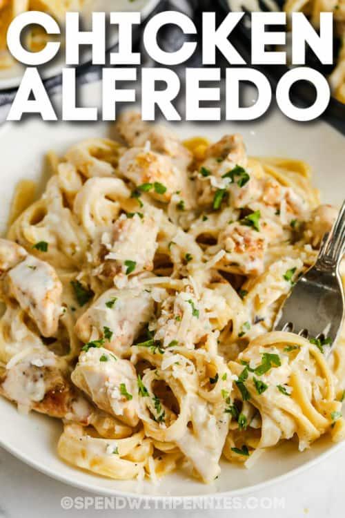 tányér tele csirke Alfredóval címmel