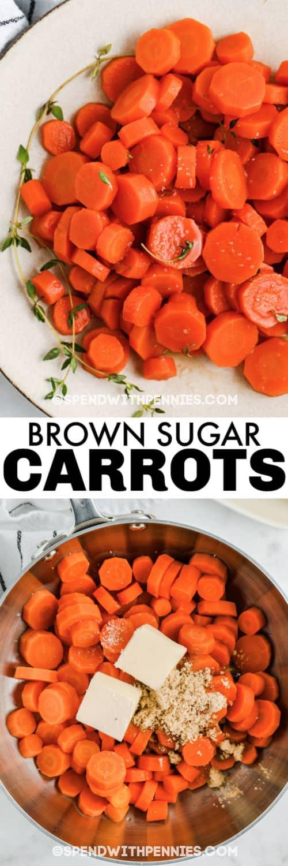 Barna cukor sárgarépa összetevőket egy edényben, és írással bevonva