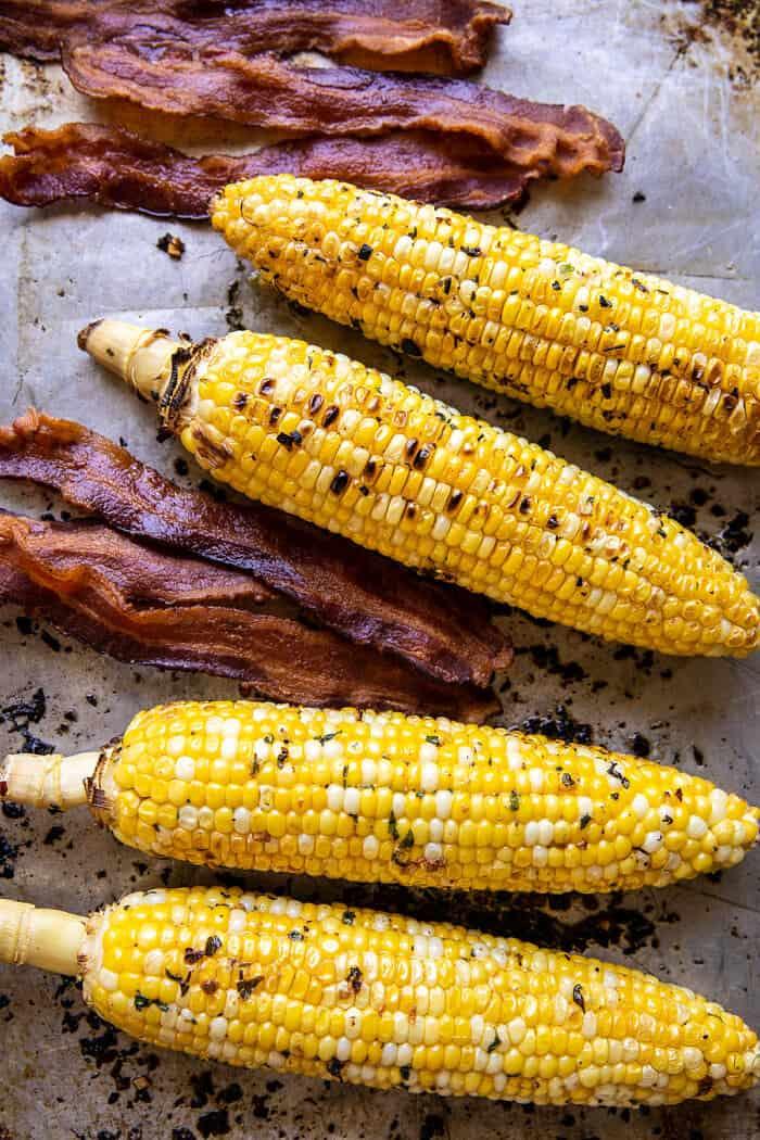Fokhagyma gyógynövény kukorica Carbonara Burratával |  halfbakedharvest.com
