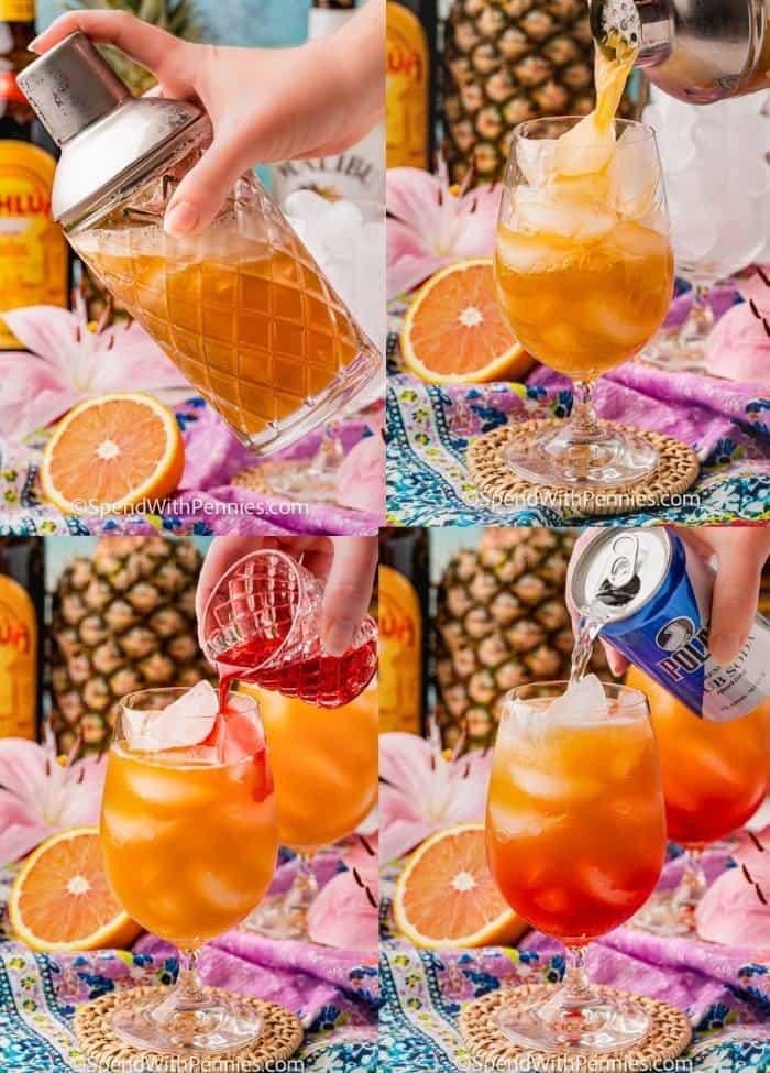 a végső összetevők hozzáadásának folyamata a csészébe a Bahama Mama koktél elkészítéséhez