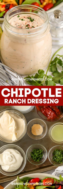 chipotle ranch öltözködés egy üvegedénybe és összetevők szöveggel