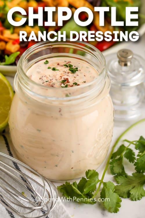 chipotle ranch öltözve egy befőttesüvegbe szöveggel