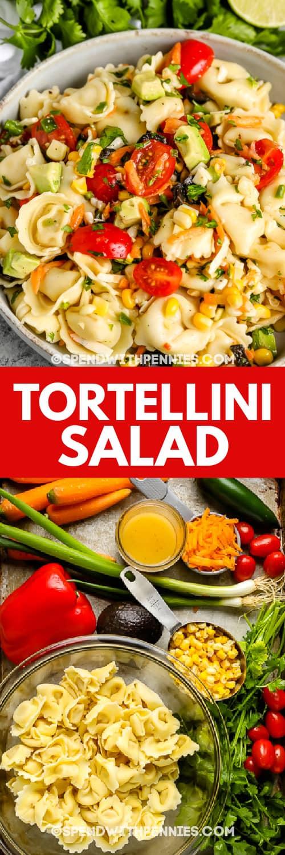 Tortellini saláta egy tálban és Tortellini saláta hozzávalók egy tepsiben címmel