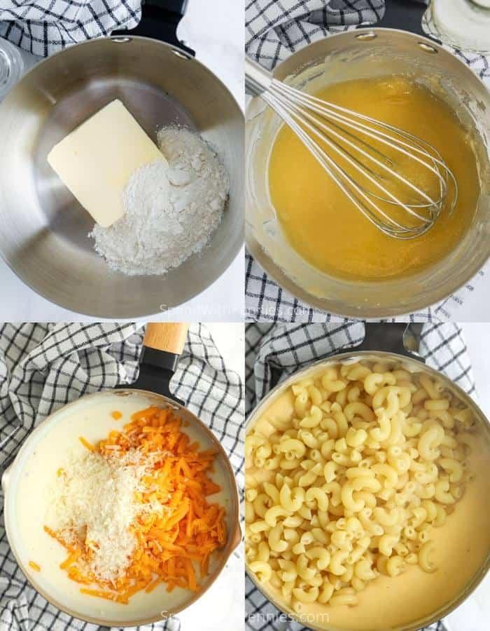 az összetevők hozzáadása a fazékhoz, hogy 15 perc Mac és sajt készüljön