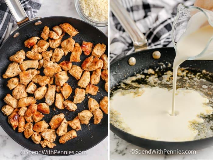Az alfredo csirke készítésének lépései egy serpenyőben