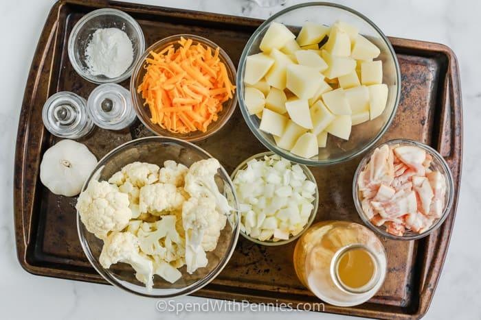 hozzávalók a karfiol cheddar leves elkészítéséhez