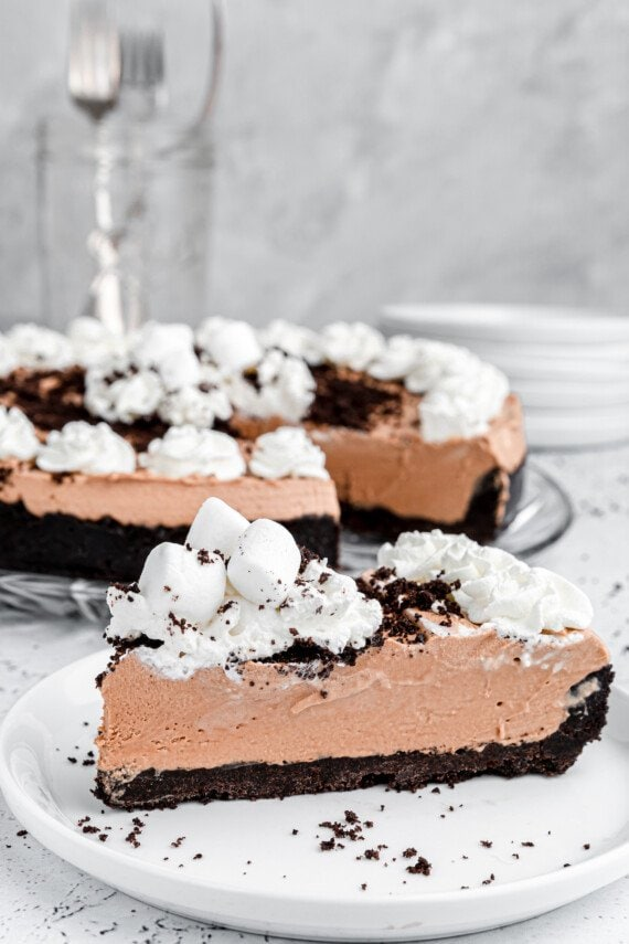 A slice of marshmallow chocolate pie.