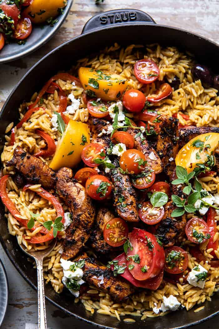 One Skillet Greek Chicken and Orzo with Tomatoes, Feta, and Tzatziki | halfbakedharvest.com