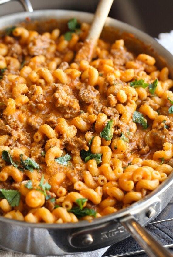 Ground Italian sausage and cavatappi pasta.
