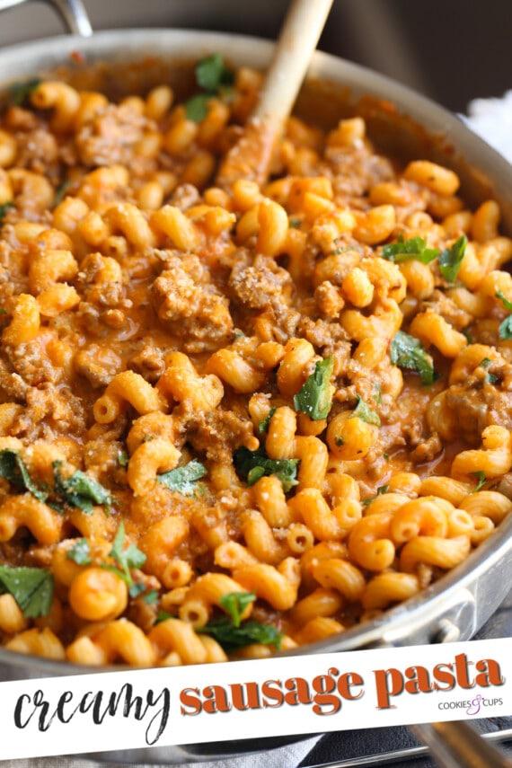 Pinterest image for Italian sausage pasta.