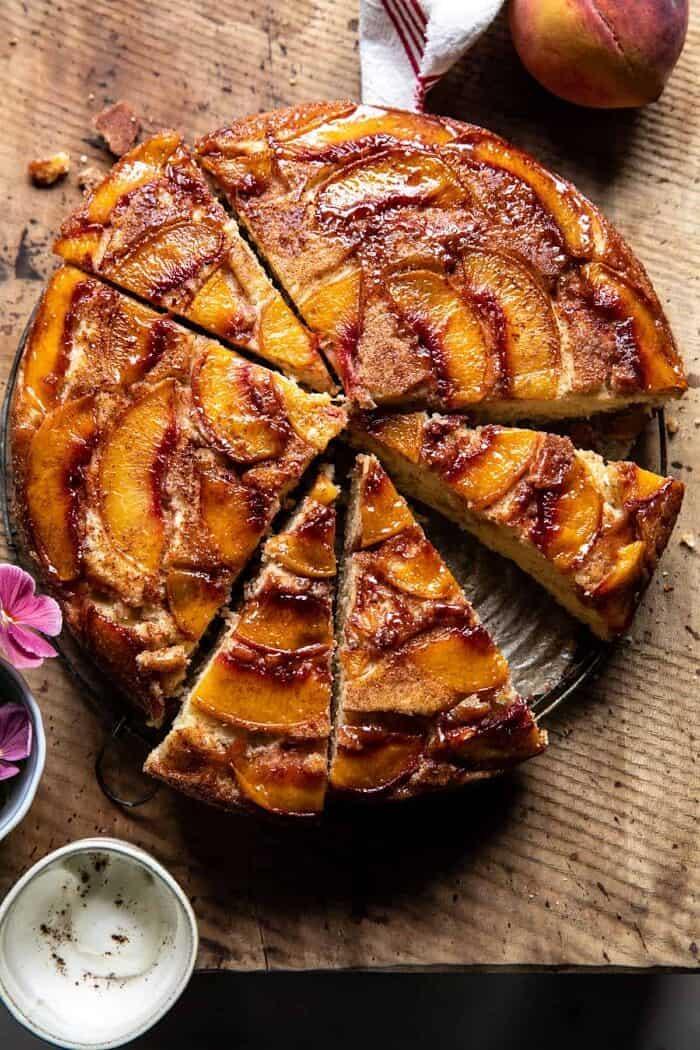 Skillet Cinnamon Sugar Peach Upside Down Cake | halfbakedharvest.com