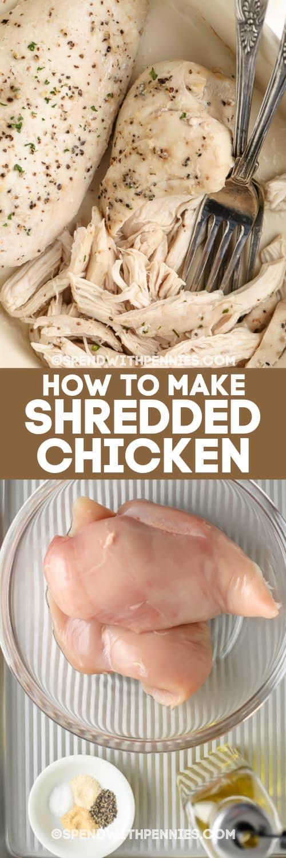 sütőben apróra vágott csirkemelleket és az elkészítéséhez szükséges hozzávalókat szöveggel