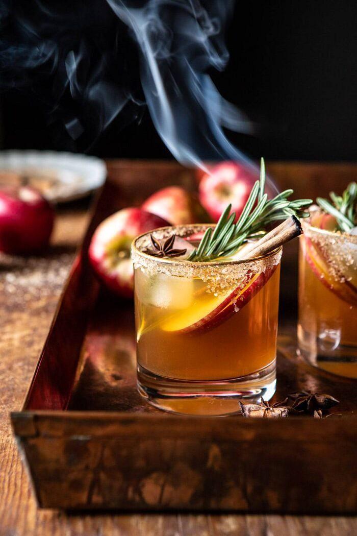 Smoky Harvest Apple Cider Margarita | halfbakedharvest.com #margarita #applecider #cocktail #holiday #thanksgiving