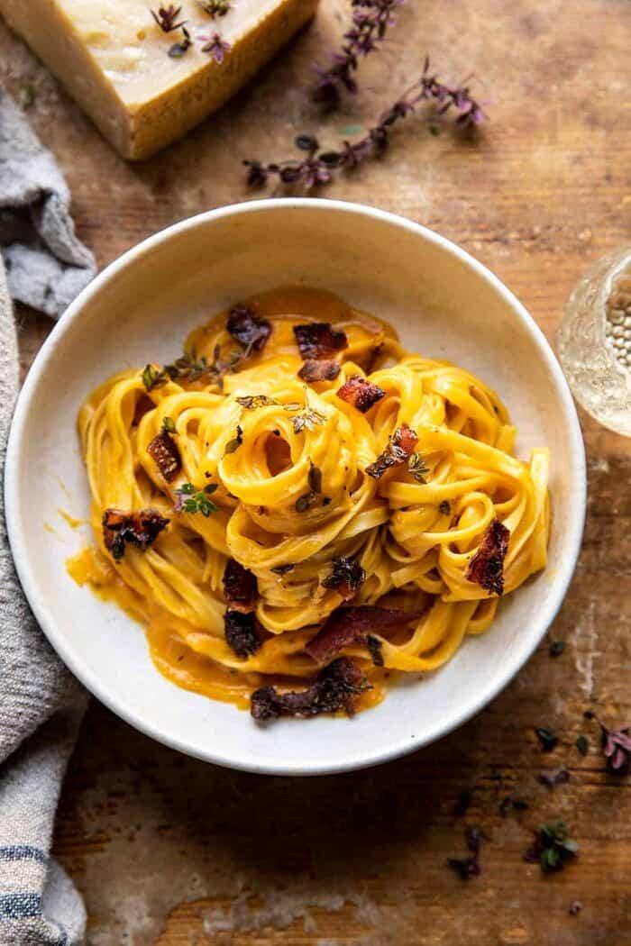Butternut Squash Pasta Carbonara with Rosemary Bacon | halfbakedharvest.com