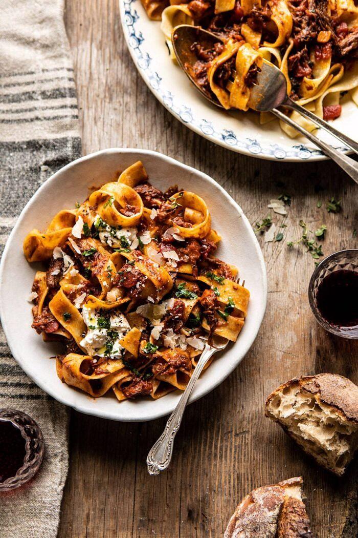 Slow Cooker Red Wine Sunday Ragu Pasta | halfbakedharvest.com #pasta #ragu #Italian #slowcooker #crockpot #instantpot