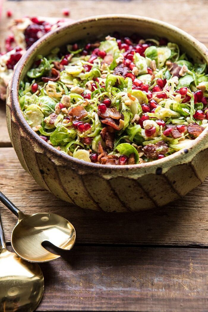 Shredded Brussels Sprout Bacon Salad with Warm Cider Vinaigrette | halfbakedharvest.com #brusselssprouts #salad #thanksgiving #fall #winter #healthy