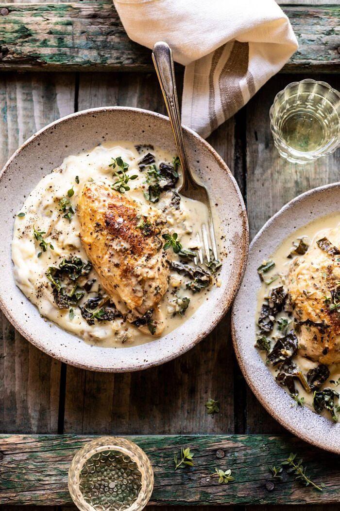 Slow Cooker French Wine and Mustard Chicken | halfbakedharvest.com #slowcooker #crockpot #instantpot #chicken