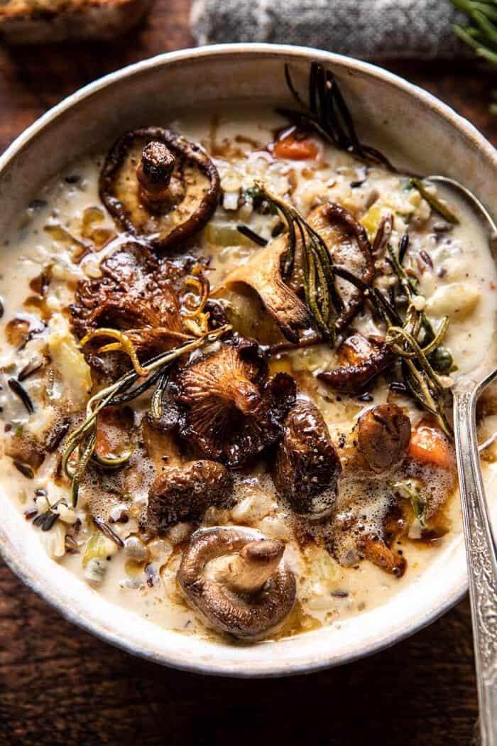 Creamy Wild Rice Chicken Soup with Roasted Mushrooms | halfbakedharvest.com #slowcooker #crockpot #instantpot #soup #wildrice