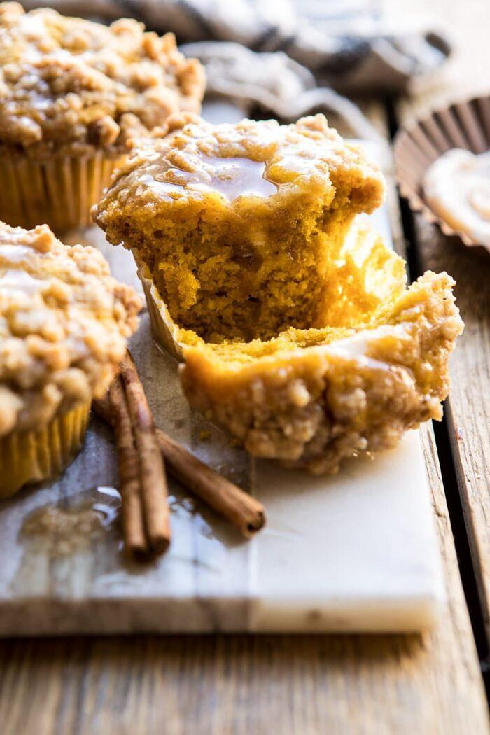 Pumpkin Coffee Cake Muffins with Cinnamon Honey Butter | halfbakedharvest.com #pumpkin #breakfast #easyrecipes #autumnrecipes #fall #thanksgiving