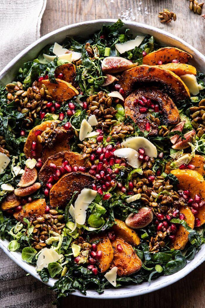 Fall Harvest Roasted Butternut Squash and Pomegranate Salad   halfbakedharvest.com #salad #autumnrecipes #easyrecipes #healthy #butternutsquash