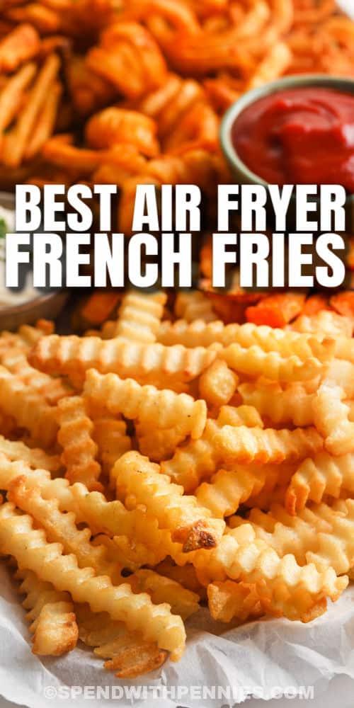közelről a Air Fryer Fagyasztott hasábburgonya főzés után címmel