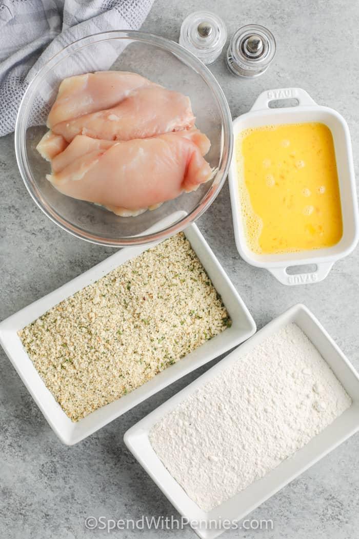 hozzávalók a panírozott sült csirke elkészítéséhez