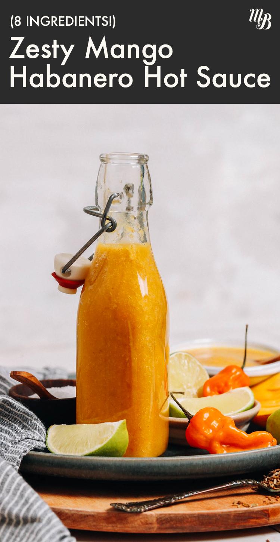 Üveges zamatos mangó habanero forró mártással, habanero paprikával és lime karikákkal