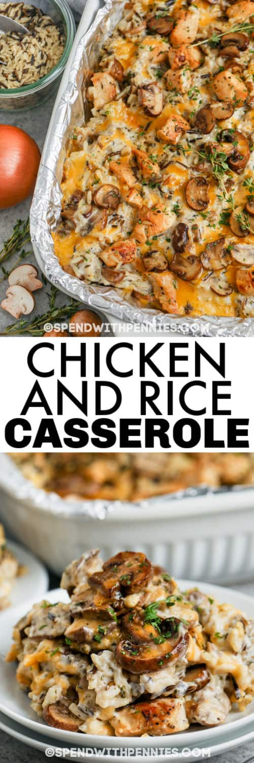 baked Chicken and Wild Rice Casserole in the dish and plated with a title