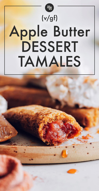 Tányér vegán és gluténmentes almavaj desszert tamales