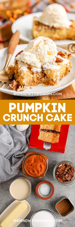 Tök Crunch Cake és összetevők szöveggel