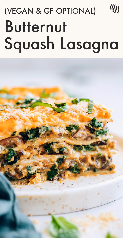 Szelet vegán vajas tök lasagne egy tányéron