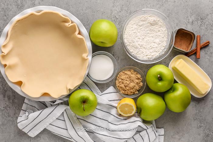 Almás morzsás pite hozzávalói